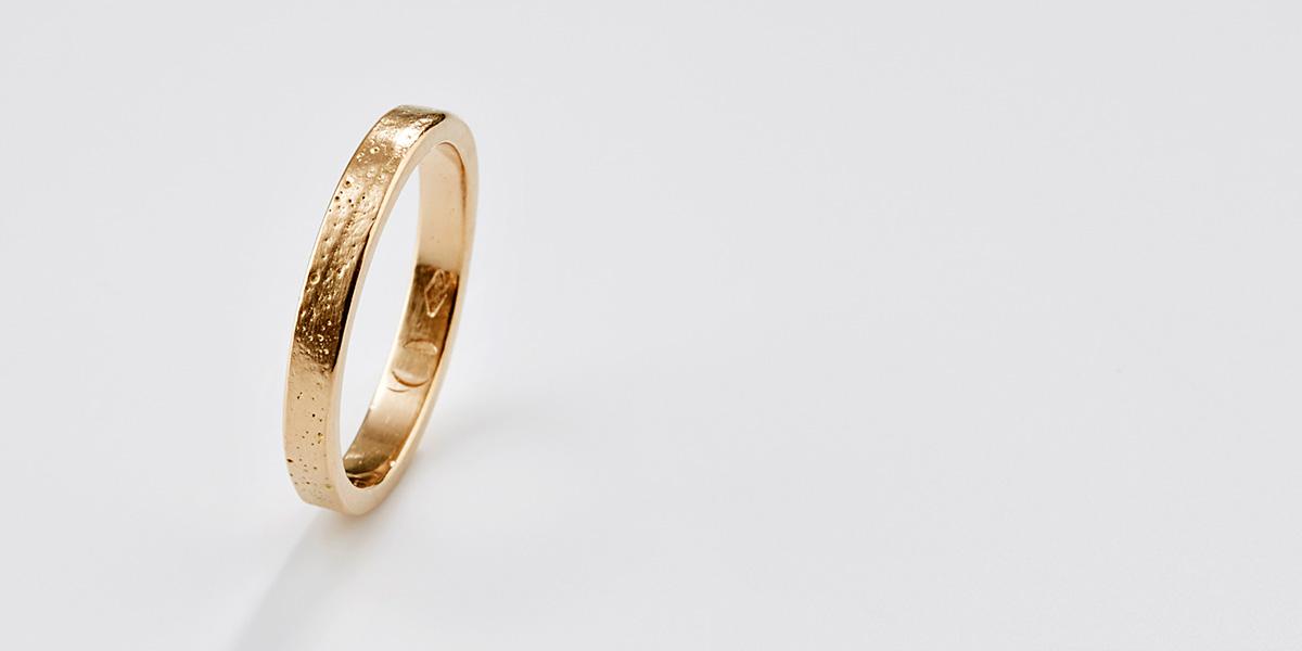 Verlovingsring landscape fijn 18k brons rosé goud
