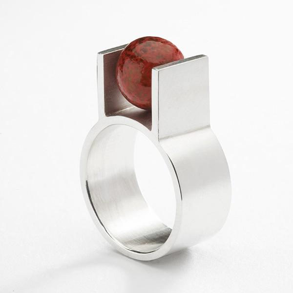 Hedendaagse ring, 18k goud of platina met edelsteen