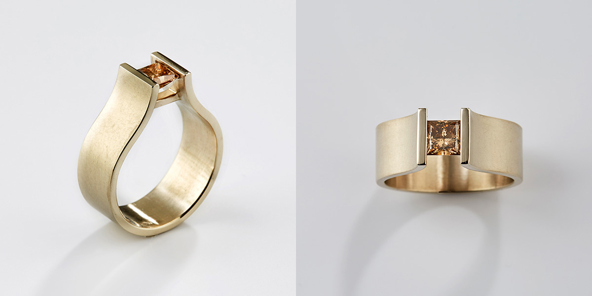 18k gouden ring met champagne diamant