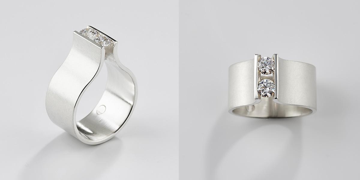 Witgouden ring met witte diamantjes