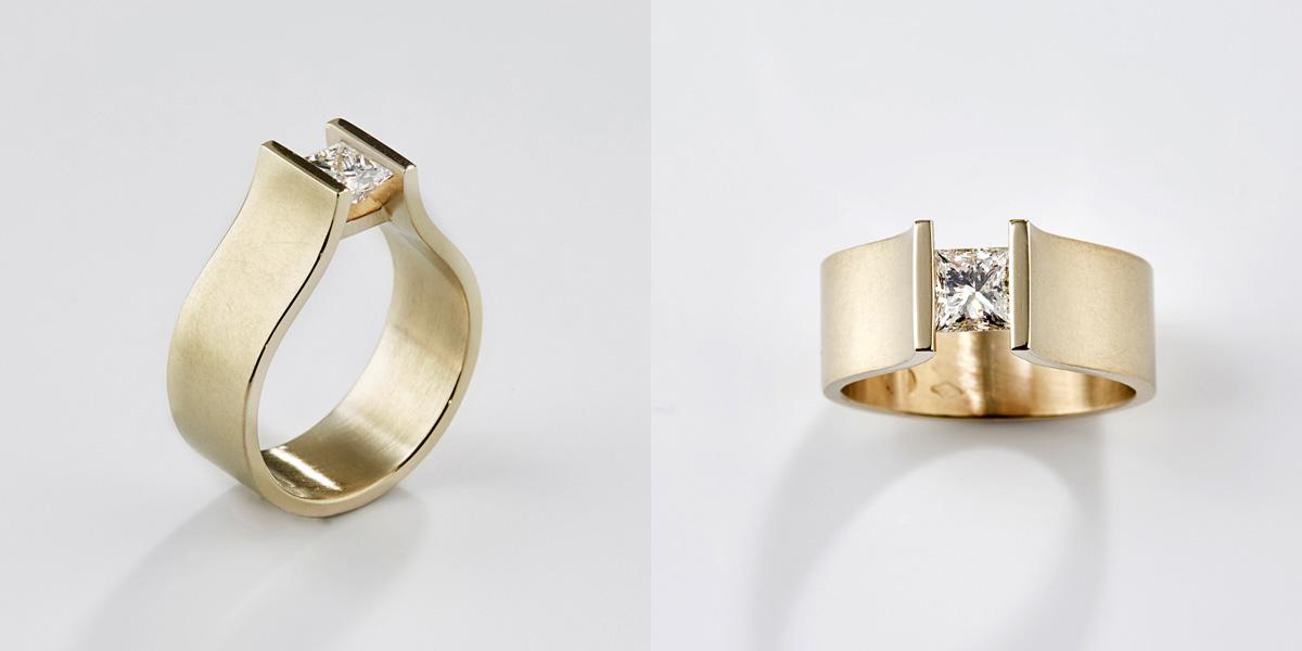 18k gouden ring met witte diamant