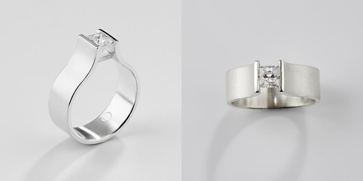 Wit gouden ring met princess diamant