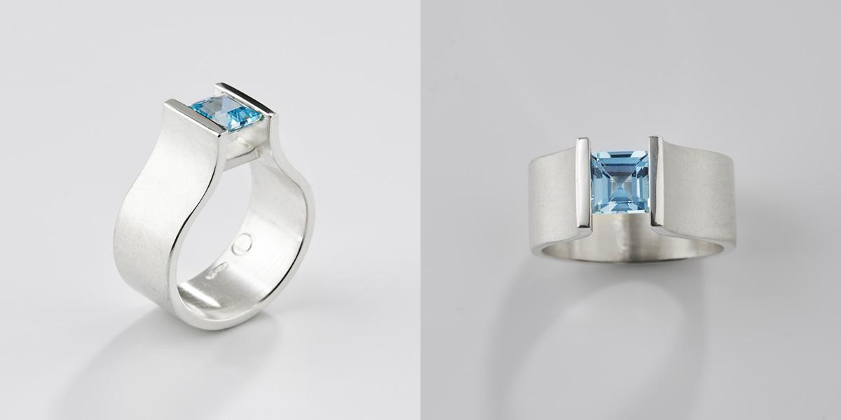 Witgouden ring met aquamarijn edelsteen