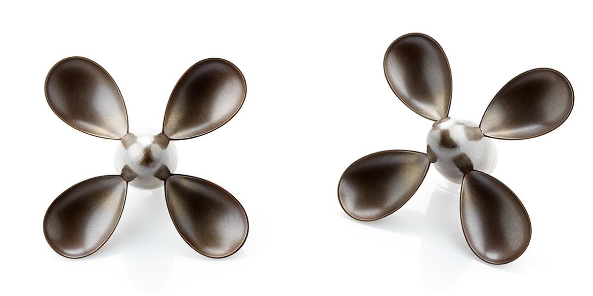 Sculpturale broche Rotar sterling zilver