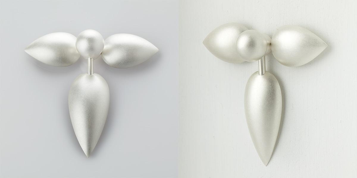 Sculpturale broche of wandsculptuur, sterling zilver