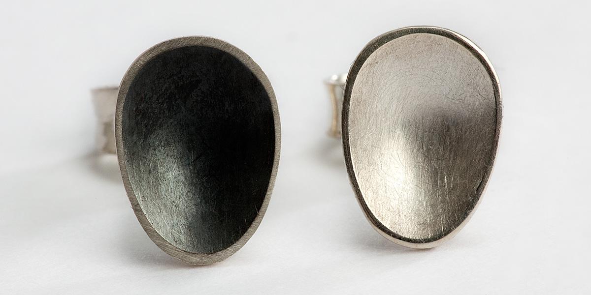 Matte 18k wit gouden oorstekers