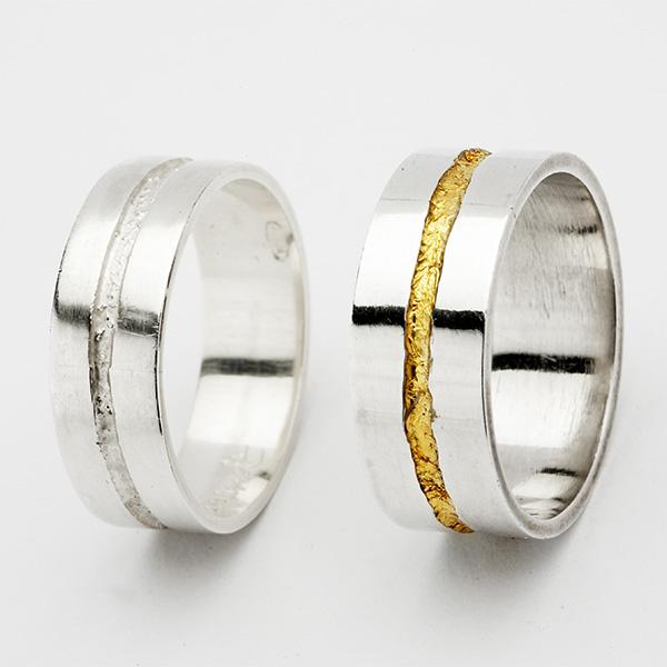 Hedendaagse trouwringen, 18k goud