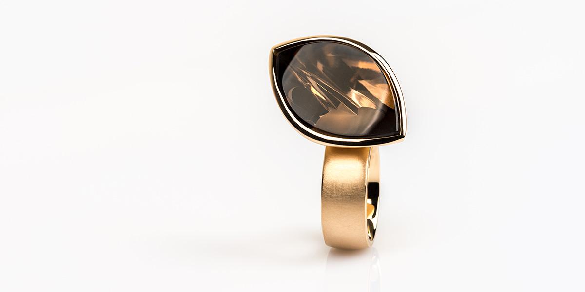 Ring Hidden Secret II: 18k brons rosé goud en rookkwarts edelsteen
