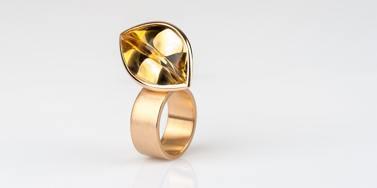 Ring Hidden Secret: 18k brons rosé goud en citrine edelsteen