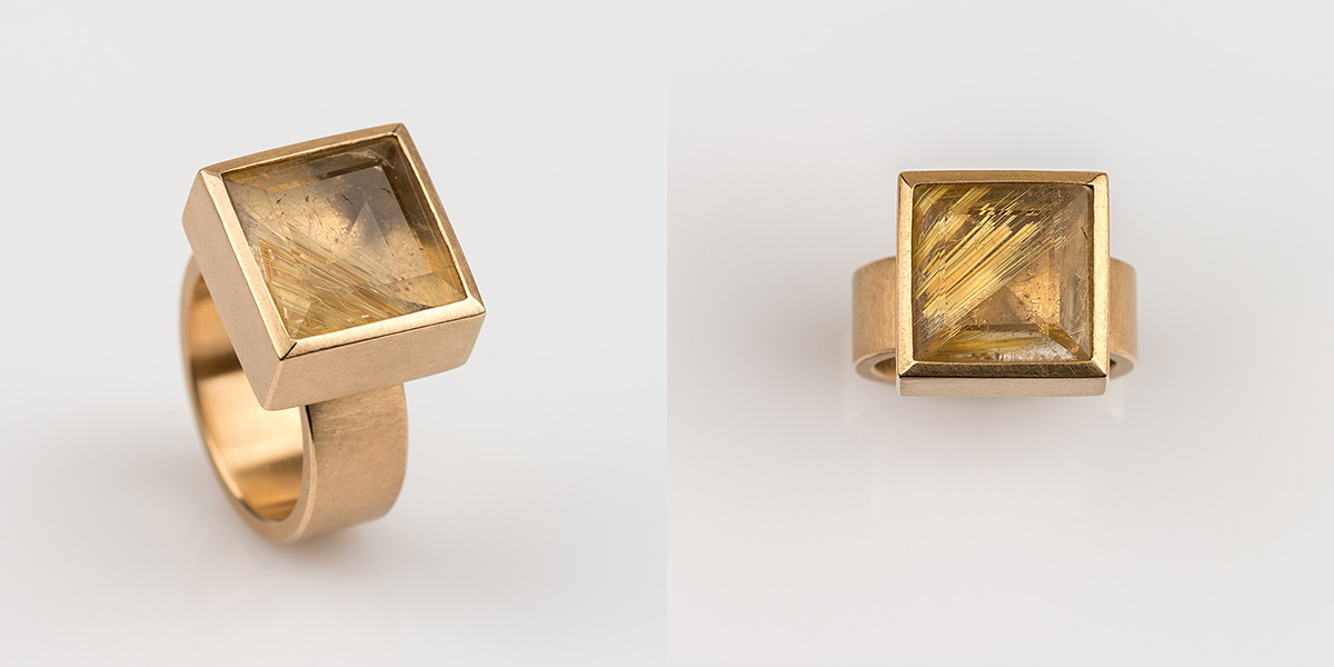 Ring in brons rosé goud met rutielkwarts