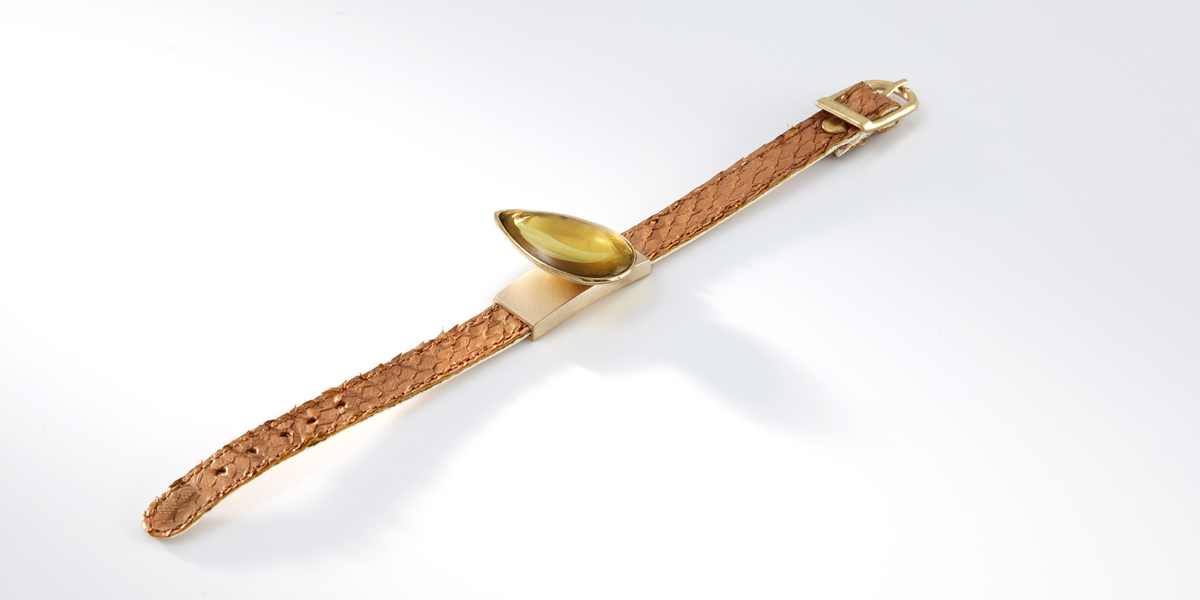 Armband Hidden Secret, 18k geelgoud, citrine, zalmleder