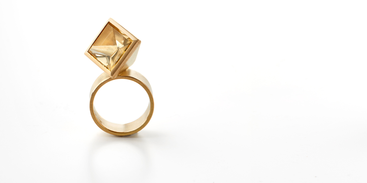 ring goud met edelsteen citrine statement juweel