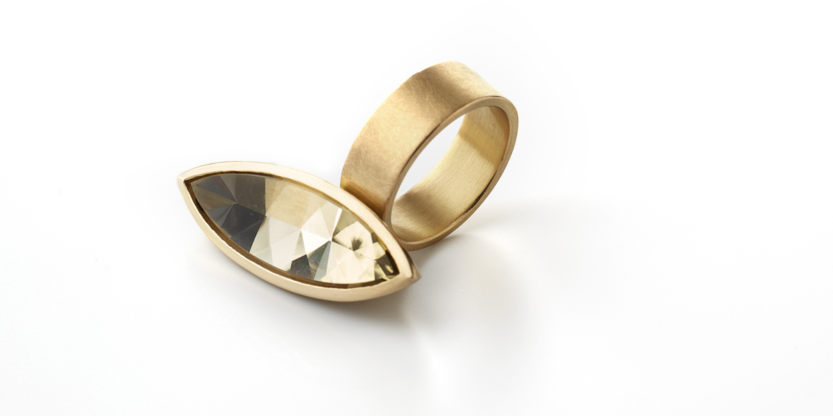gouden statement ring edelsteen citrien