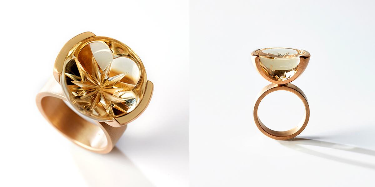 golden starflower citrine ring