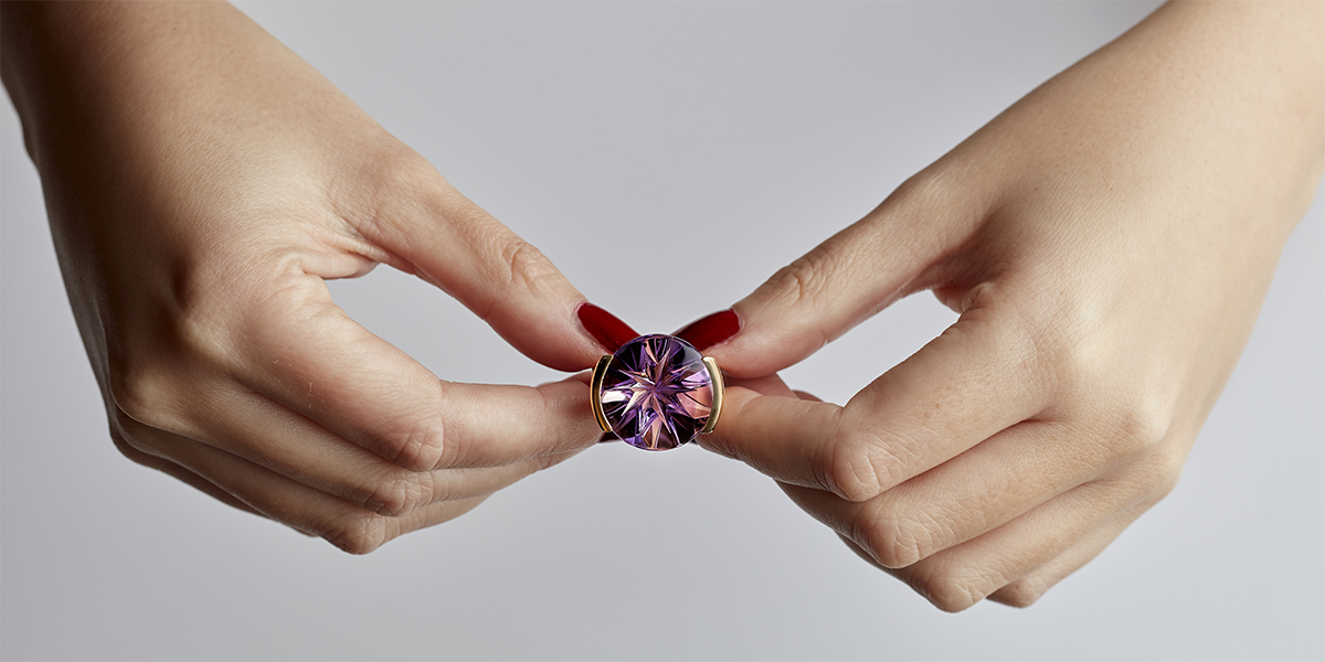 golden starflower dark amethyst ring