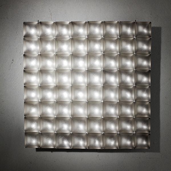 Square 4³ White, reversible Silver Wall Sculpture REMBRANDT JORDAN